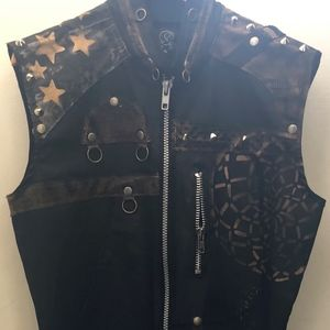 Multi-Media Men's Leather Vest